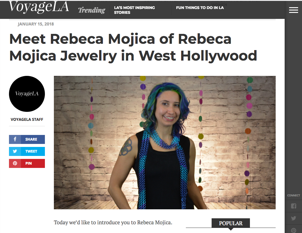 Rebeca Mojica in VoyageLA magazine article