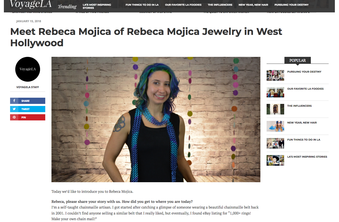 Rebeca Mojica in VoyageLA magazine West Hollywood Inspiring Stories