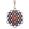 Flower of Life, KIT - Flower of Life Base metal , Flower of Life pendant in black, red and purple - Japanese 12-in-2 chainmaille weave