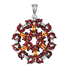 Byzantine Medallion, KIT - Byzantine Medallion - Custom colors, byzantine medallion pendant in red and orange and aluminum jump rings