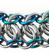 Mngwa Bracelet, KIT - Mngwa Mini Bracelet Stainless Steel w/ Mermaid Blend Niobium + Titanium lobster, mngwa chainmaille weave in stainless steel and blue niobium