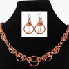Orbital Ensemble, KIT -  Orbital Ensemble Aluminum - Necklace & Earrings , orbital ensemble copper chainmaille necklace and earrings on black neck form