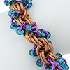 Carnivale (Beaded Double Spiral), KIT - Carnivale (Beaded Double Spiral) Bracelet - Custom Colors, copper double spiral chainmaille weave with purple and blue beads