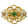 Celtic Traditions Barrette, KIT - Celtic Traditions Barrette - Gold AA w. Emerald Glass - St. Pats edition, gold and green St. Patrick's Day chainmaille barrette